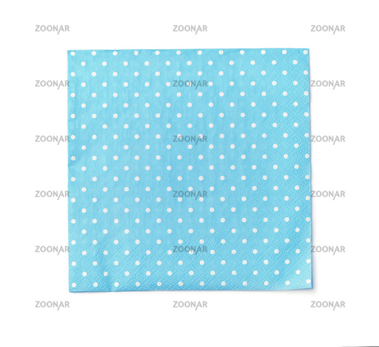 Top view of blue dot paper napkin