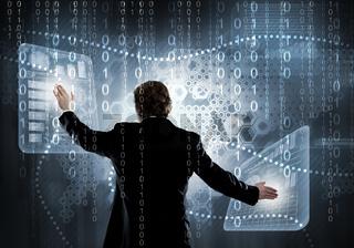 Businessman using modern technologies