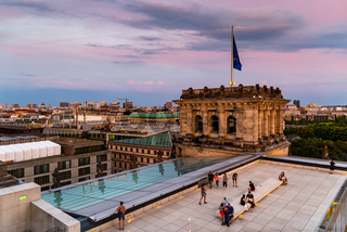 Cityscape of Berlin at sunset from the rooftop of the new Reichstag building