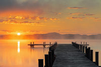 Sunrise at lake Woerthsee, Bavaria, Germany