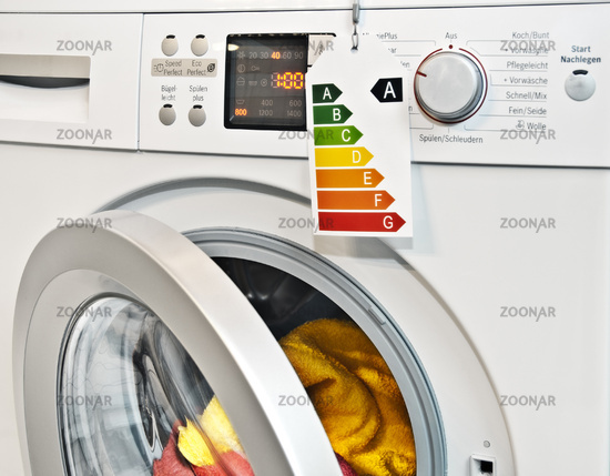 Washing machine with energy efficiency label