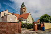 Delitzsch, Germany - 06/19/2019 - Cityscape with a wide tower