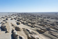 aerial view of wind erosion terrain landscape in qinghai