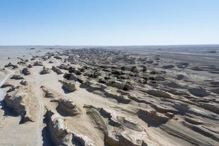 aerial view of wind erosion terrain landscape in qinghai