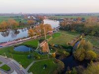 Amsterdam, The Netherlands, 8th November 2020 Riekermolen near the Amstelpark old dutch windmill aerial
