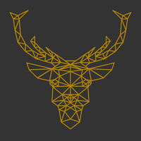 geometric reindeer or stag head front view