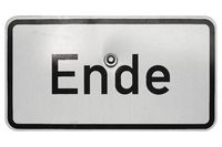 German sign isolated over white. Ende (End)