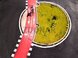 Bicycle path for cycling and cycling in a large city. Aerial view.