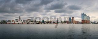 Panorama of Hamburg in windy weather