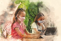 Two multi racial cute school age girls sit at desk with tablets. Using modern device ignoring each other, studying distantly by wireless gadget, new generation gadget overuse. Digital watercolor