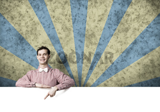 Cheerful man with banner