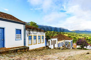Mountains and streets of the old and historic city of Tiradentes