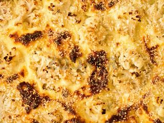 baked cauliflower cheese food background
