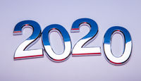 Happy New Year 2020. Symbol from number 2020 on bright background. Silver letters in the form of numbers 2020.