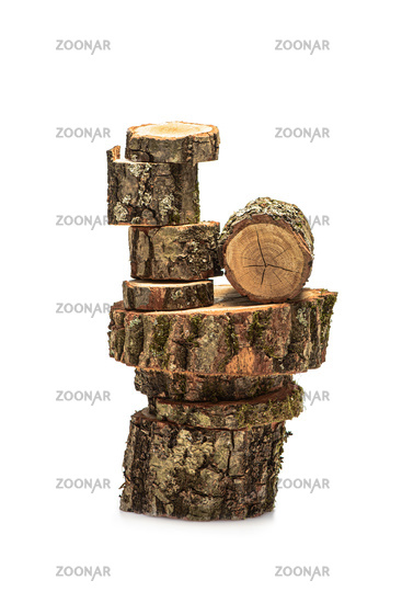 Kit of decorative oak stands on a white background