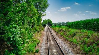 Rail Road Track going Thru Countryside