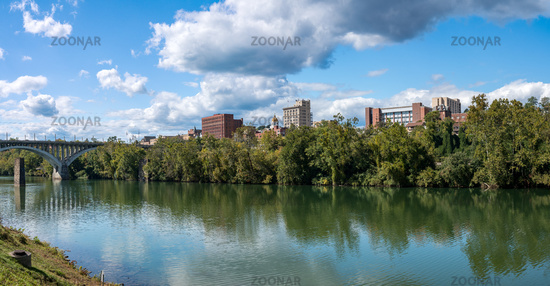 Panorama of the city of Fairmont in West Virginia taken from Palantine Park