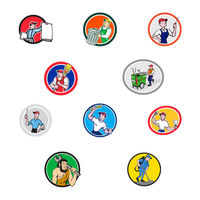 Tradesman Industrial Worker Cartoon Set Collection