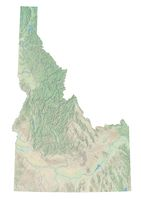 High resolution topographic map of Idaho