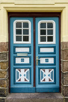 Old Front Door of a Historic  House in Friedrichstadt, Germany