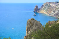 Beauty nature sea landscape of Crimea, horizontal photo. Panoramic view of Fiolent cape