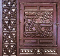 Arabesque sash of an old ottoman era style cupboard with engraved decorations inlaid with ivory