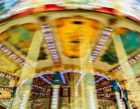 Vintage carousel with motion blur