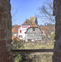 View through a window of the castle ruins on Bad Teinach-Zavelstein, Northern Black Forest, March