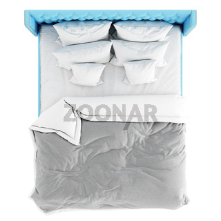 Large double blue bed with a blanket and six pillows on a white background. 3d rendering