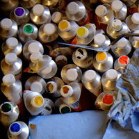 Paint tubes, painting material