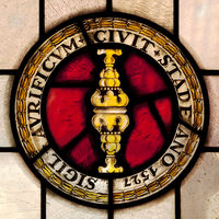 Seal of the guild of goldsmiths from 1527, stained glass window, town hall, Stade, Germany, Europe