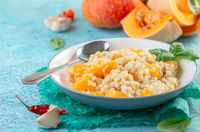 Pearl barley and pumpkin risotto.