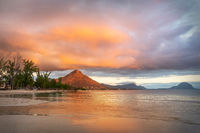 Flic en Flac beach and the mountain Tourelle du Tamarin at sunset