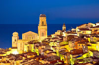 Colorful Cote d Azur town of Menton architecture evening view