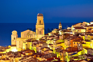 Colorful Cote d Azur town of Menton architecture evening view