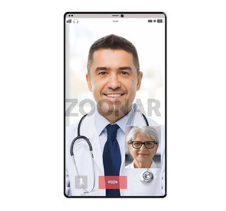 video chat of doctor and old patient on smartphone