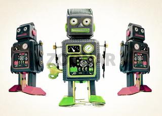 three black robot toys
