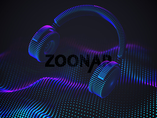 3D headphones on sound wave background. Colorful abstract visualization of digital sound.