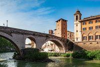 Ancient Fabricius bridge on the Tiber river, Rome, Italy