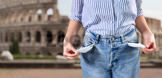 close up of woman showing empty pockets in italy