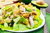 Salad seafood and avocado on napkin