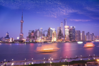 High view of Pudong skyline at dusk