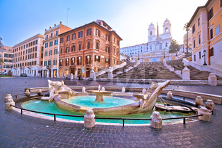 Empty streets of Rome. View of Spanish steps, famous landmark of Rome