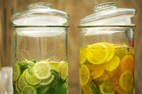 2 glass jars of lime and orange slices lemonade, cut into pieces