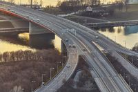 Highway bridge with some traffic, aerial view