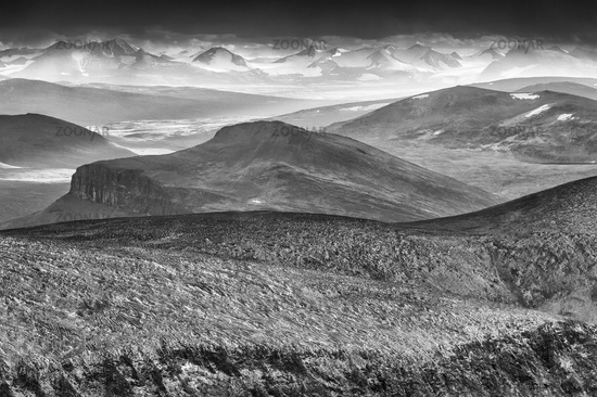 view to Sarek NP from Mt. Kebnekaise, Lapland