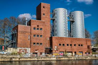 Berlin, Germany - April 9th, 2019 - Old power plant at the Landwehr Canal in Berlin Charlottenburg
