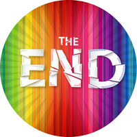 Words the end on the rainbow background