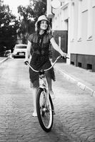 woman moves on bicycle