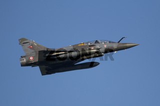 Leeuwarden, The Netherlands Apr 11 2016: A Mirage 200d of the French air force is taking of for the Frisian Flag exercise